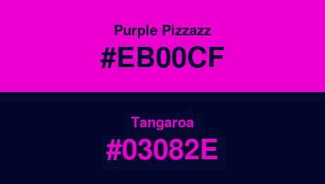 Purple Pizzazz (#EB00CF) and Tangaroa (#03082E)