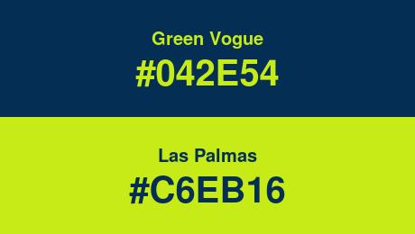 Green Vogue (#042E54) and Las Palmas (#C6EB16)