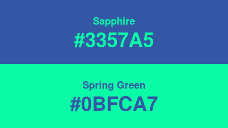 Sapphire (#3357A5) and Spring Green (#0BFCA7)