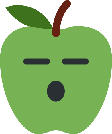 apple emoji with open mouth with eyes closed and expressionless