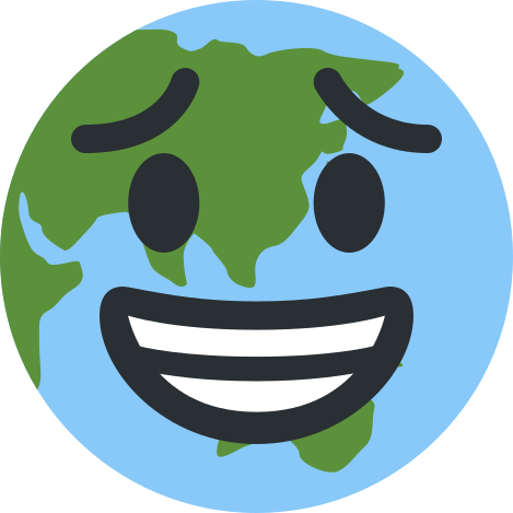 planet earth emoji grinning with worried eyes