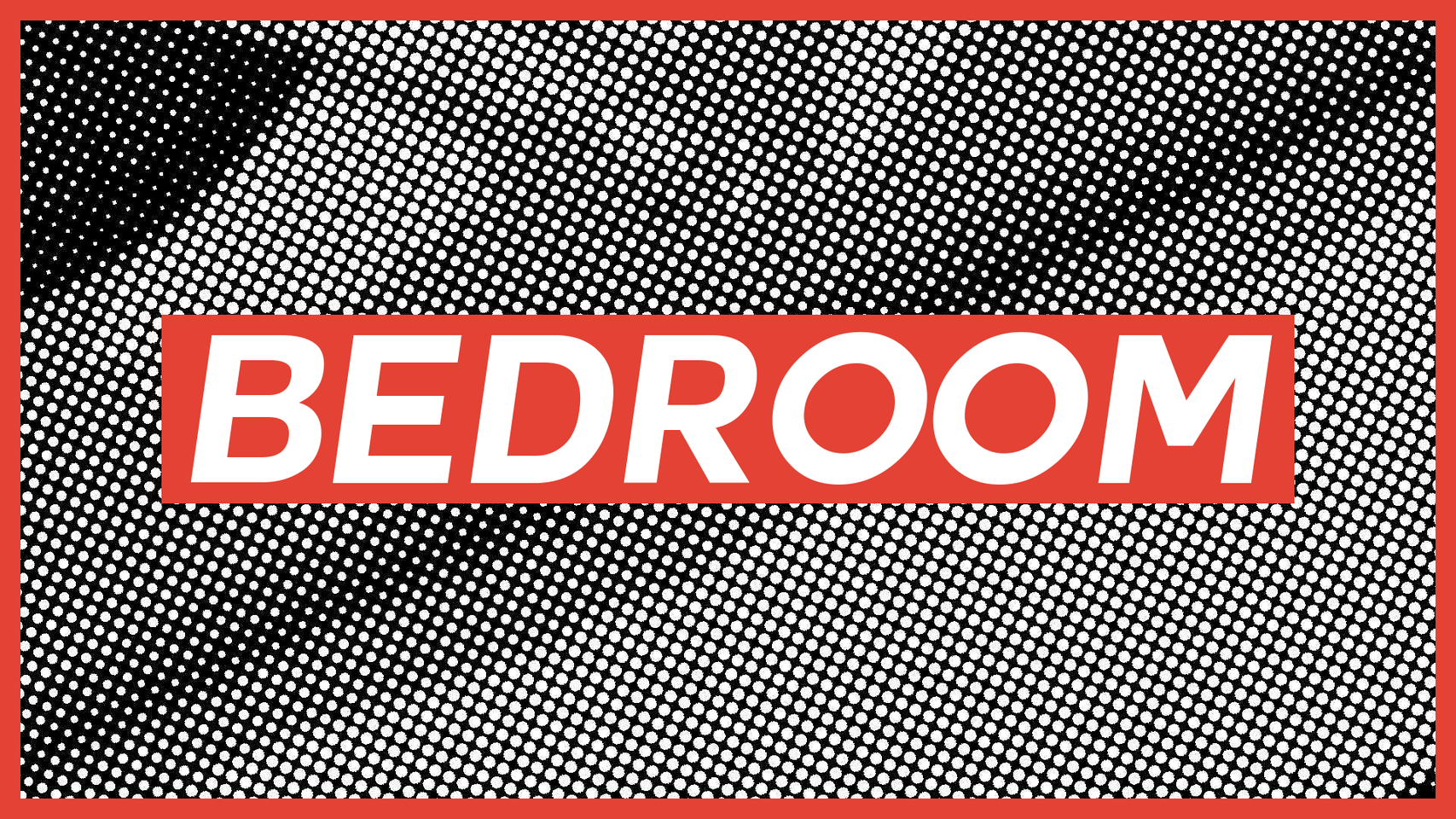 generated black and white image with the word BEDROOM in bold font overlaid